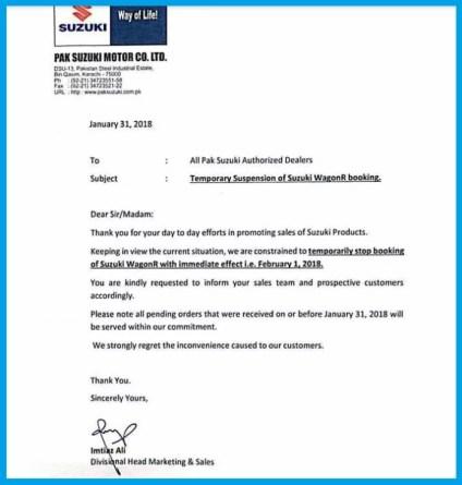 Suzuki WagonR Suspended by Pak Suzuki Motors