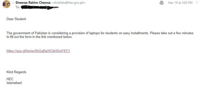 Government of Pakistan Laptop Scheme