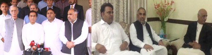 PTI Leaders with Ayaz Sadiq and PTI Leaders with Khursheed Shah