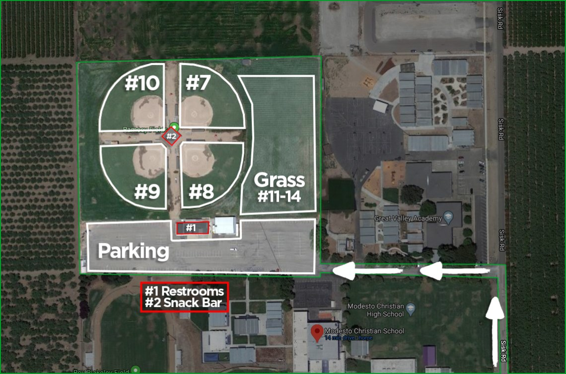 Ramsey Fields Map - Crusaderball Fields - Modesto Christian School