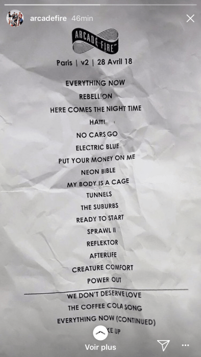 la set list du concert d'arcade fire à l'accordhotel arena Paris