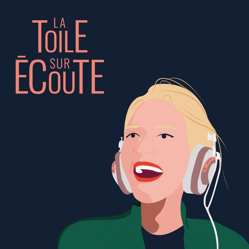 un dessin d'une femme blonde qui sourit avec un casque audio. La toile sur écoute.