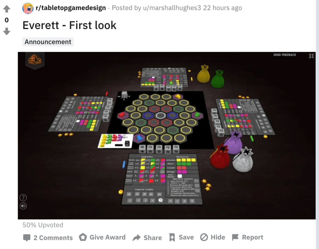 Everett Board Game First Look from Reddit before launching on kickstarter