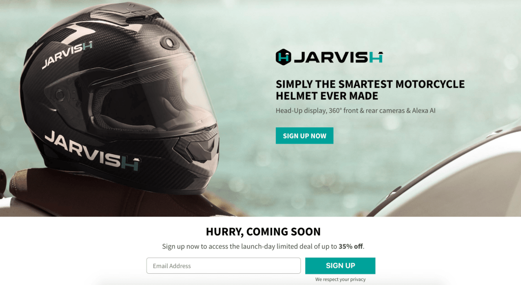 jarvish has a great landing page for crowdfunding example