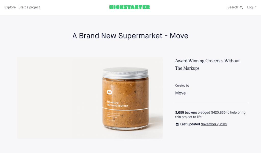 I coached move a brand new supermarket on their crowdfunding campaign