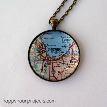 Glass Map Necklace by Adrianne at Happy Hour Projects