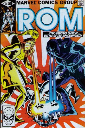 Fellow spaceknights Starshine and Terminator dominate the cover of Rom #20.