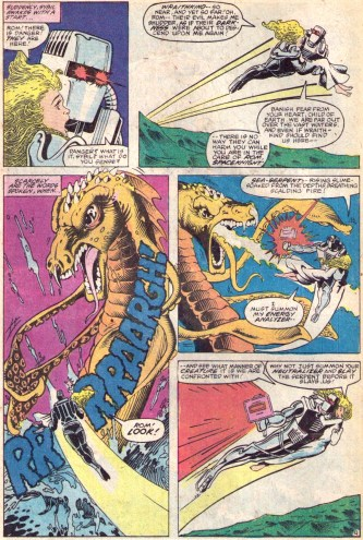 Scenes from Rom #34, featuring the debut of Akin & Garvey on inks.