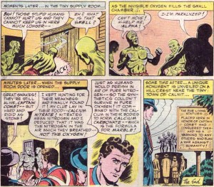 When pure oxygen is absorbed by the calcium-based lifeforms of these alien invaders, they are transformed into marble statues—science, people! Originally presented in Strange Adventures #17 (Feb. 1952) and later reprinted in DC Super-Stars of Space #6 (Aug. 1976).