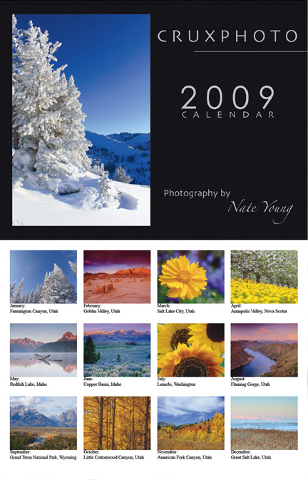 2009 Crux Photo Landscape Calendar. Copyright Nate Young and Crux Photo.