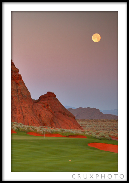 Moonrise over Sand Hollow Resort. Copyright Nate Young and Crux Photo