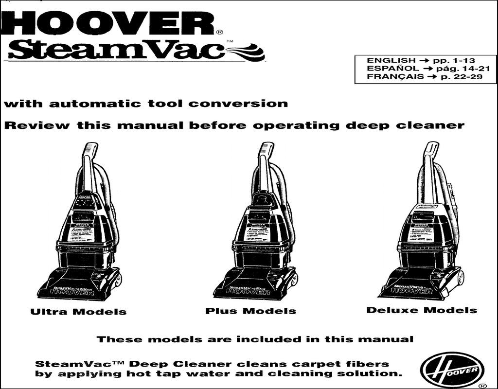 Hoover Carpet Cleaner Manual