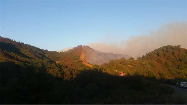 By day two, one side of the mountain was burned to ash