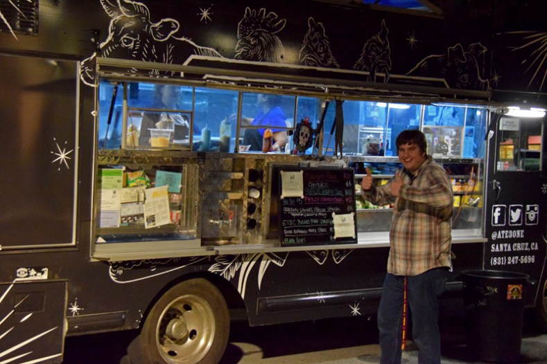 Brian is ready to enjoy a delicious Philly Cheesesteak at the Ate3One Food Truck.