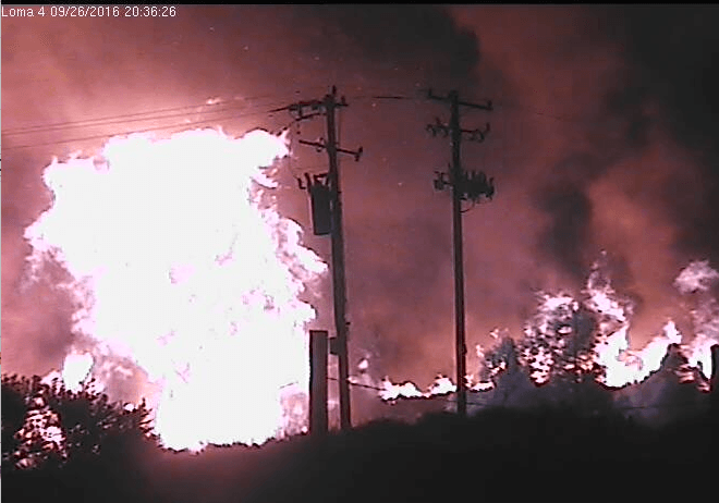 View of the Loma Fire from Cruzio's security cameras, 8:36PM