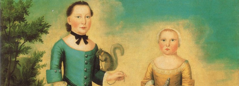 Colonial girl with squirrel