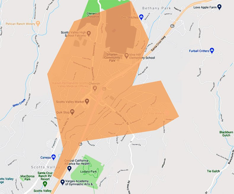 Scotts Valley internet map