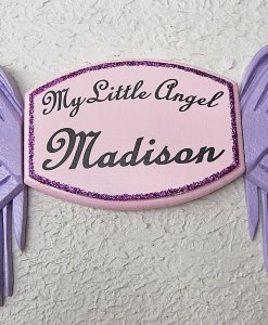 My Little Angel Wall Plaque in Soft Pink – with Violet Angel Wings
