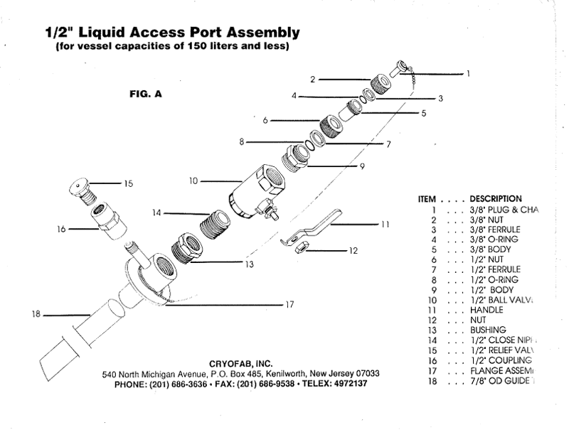 """1/2"""" access port for liquid helium container - expanded drawing"""