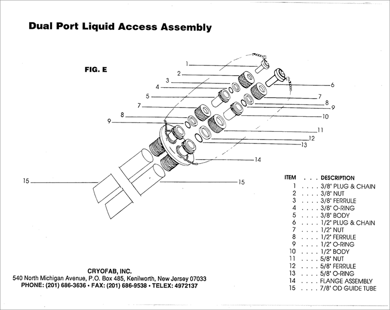 dual access port for liquid helium container - expanded drawing