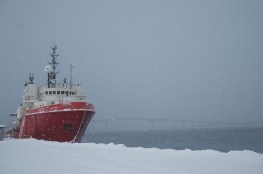 Ship docked in Sortland, Norway. January 2013.