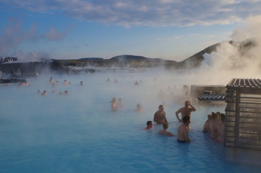 Lining up for beers and skyr smoothies at the Blue Lagoon in Iceland. October 2014.