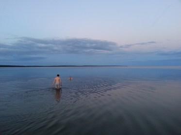 Swimming in Lake Onega, Russia.