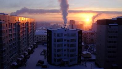 Dawn over Yakutsk, Russia.
