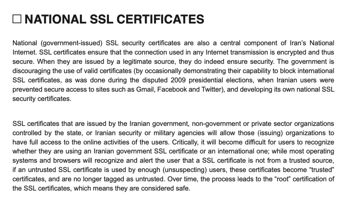 Iran government SSL