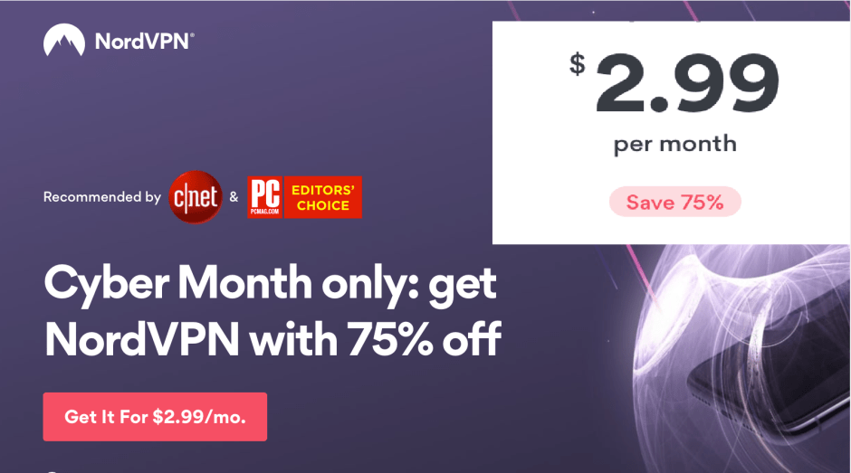NordVPN Deal 75% discount 2018