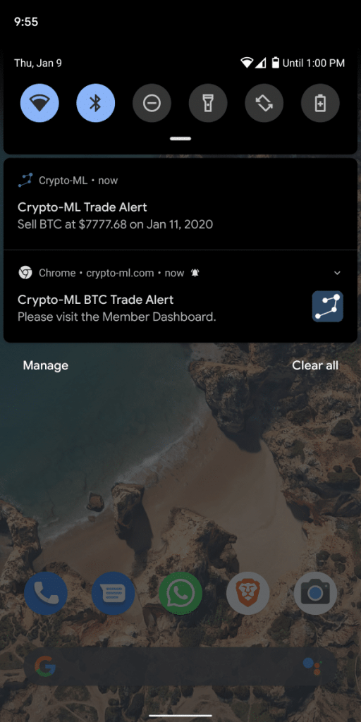 Crypto-ML Android App and Web Push Notifications