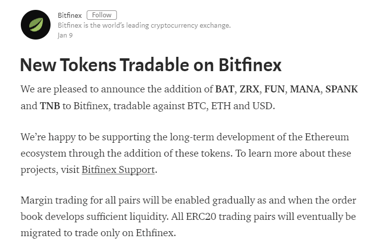 Bitfinexが $BAT, $ZRX, $FUN, $MANA, $SPANK $TNB を追加!BTC, ETH and USD