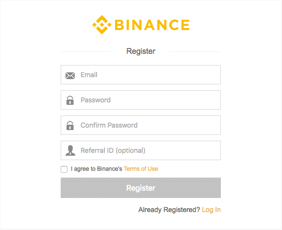 Binance register screen