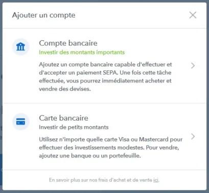 Coinbase - Choisir sa méthode de paiement