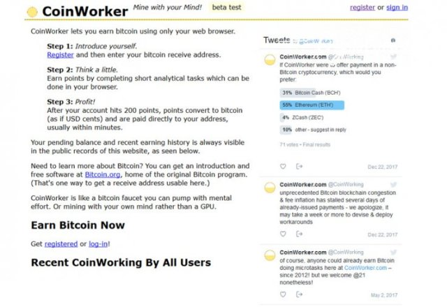 Coinworker interface