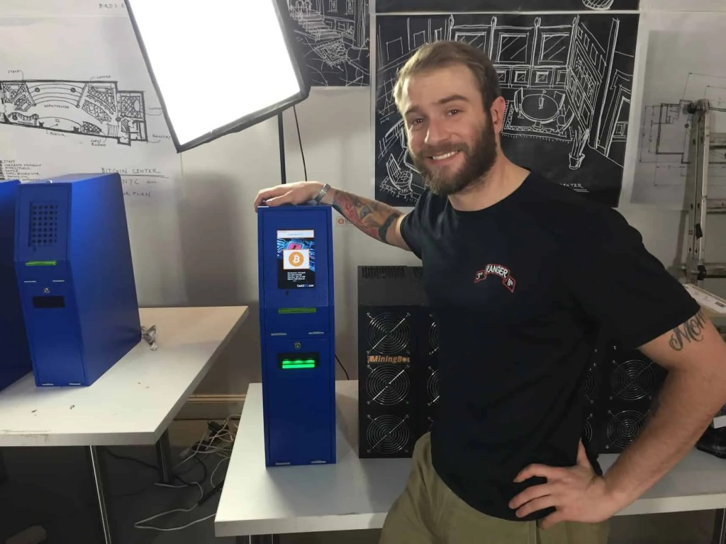 Sean Scappaticci with his Cash2Btc bitcoin atm prototype.