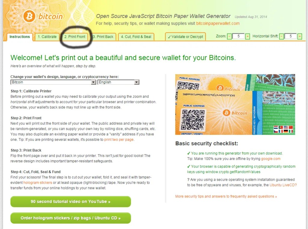 bitcoin paper wallet generate