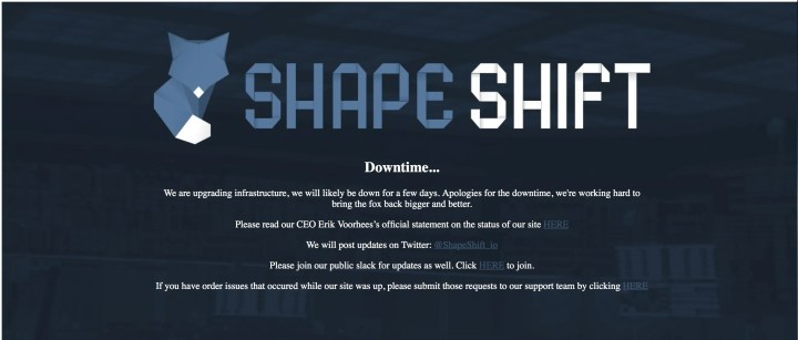 Shape shift Down due to Technical Difficulties