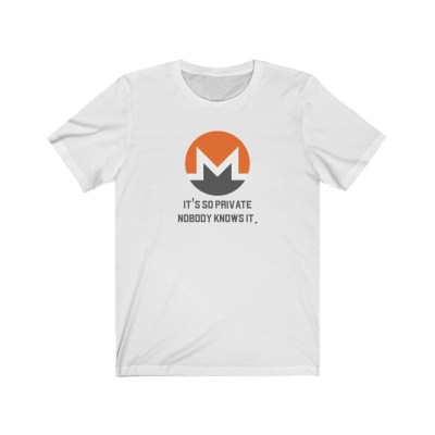 Monero XMR It's so private nobody knows it. Short Sleeve T-Shirt