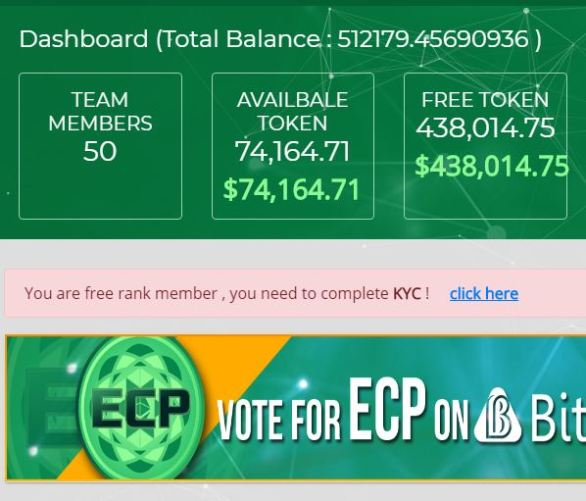 Convert ECP Token to free tokens