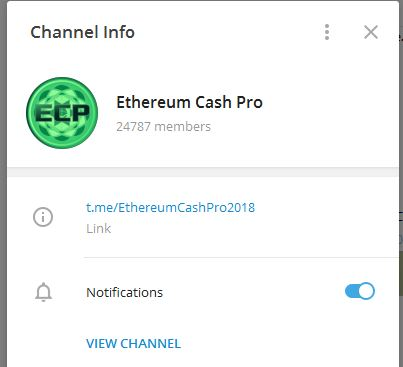 Ethereumcashpro ECP Telegram channel