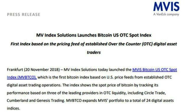 MV Index Solutions Launches Bitcoin US OTC Spot Index