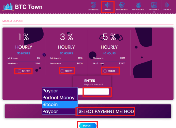 BTC Town Platform Rewards - Sign Up To Get $50 Free And Earn Up To 0.125% Hourly (3% Daily) Profit