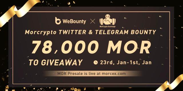 MorCrypto Exchange Bounty - 78,000 MOR Tokens Give Away