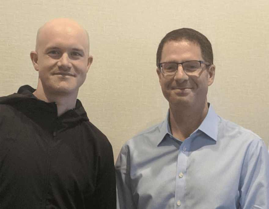 Brian Brooks (Right), Brian Armstrong (CEO Of Coinbase - Left). Source: Coinbase