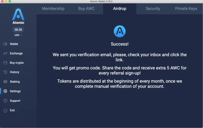 Atomic Wallet Airdrop Page