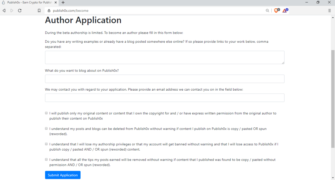 Publish0x Author Application Form