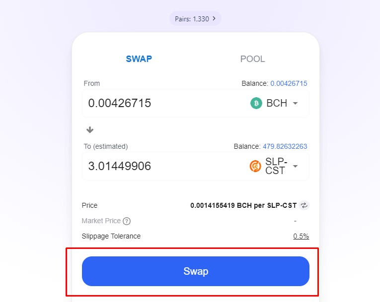 Buying CST with BCH on CCTip.io