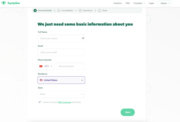 Equitybee investor signup