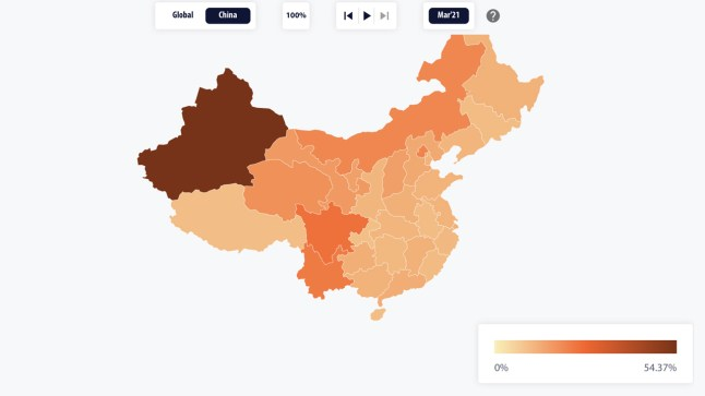 Cambridge Bitcoin Mining Map Shows China's Hashrate Dominance Dropped to 46%